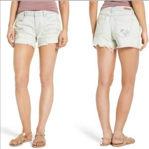 Blank NYC Distressed Cactus Denim Shorts Ripped